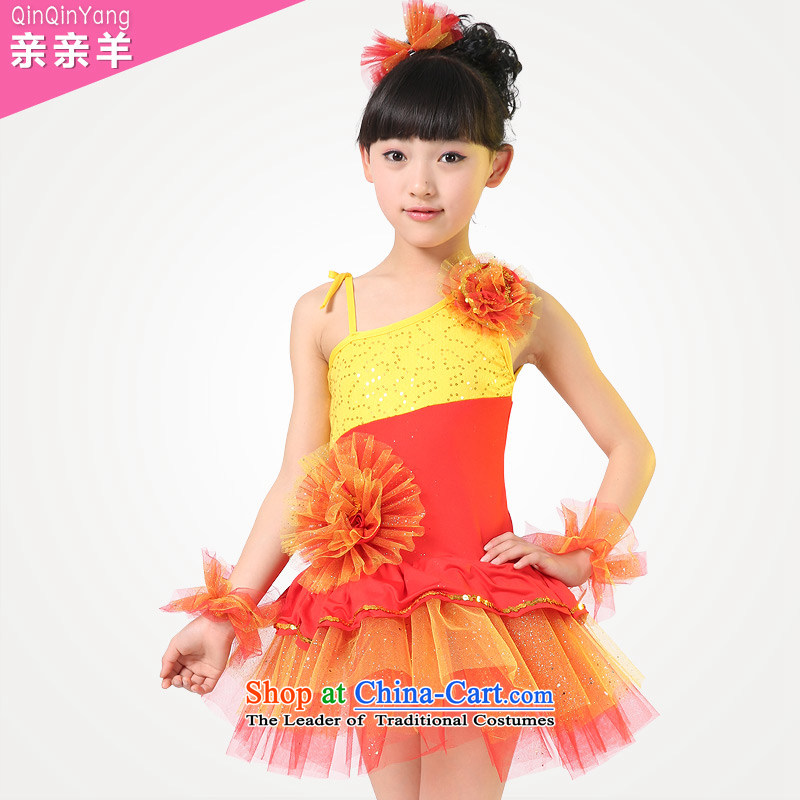Kiss sheep children costumes girls modern dance dress that early childhood cloak skirt small moderator show services group performances of early childhood services Flash stage red聽140cm