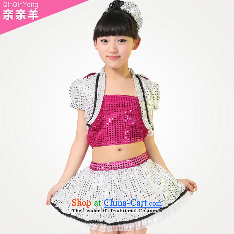 Kiss sheep flagship store celebrate Children's Day jazz dance costumes dance costumes females jazz dance costumes and girls dancing costumes and better red130cm