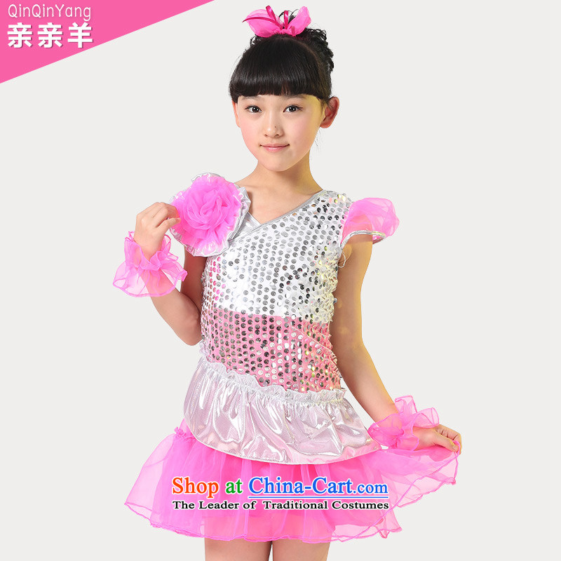 The new children's dance costumes modern dance show girls serving light slice child care services for children dance performances clothing costumes of competition red聽150cm