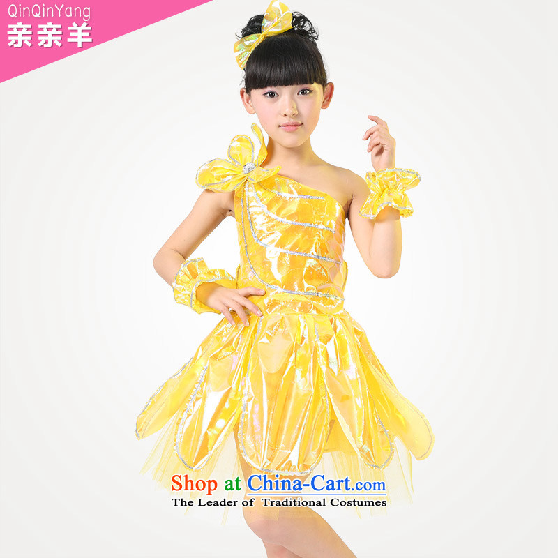 Celebrate Children's Day 2015 costumes girl children modern dance costumes dance performance dress that early childhood game girls wearing costumes and Yellow 150cm