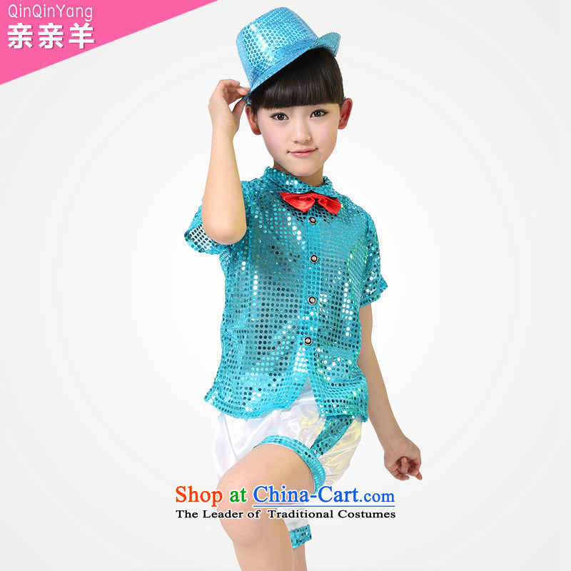2015 new celebrate Children's Day costumes girl children dance services costumes dance males and clothing will Blue?5.30