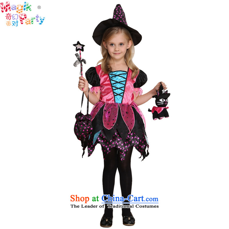 Fantasy to send girls Halloween costume party gathering play fashion school performances skirt witch dresses girls witch skirt lively red聽95cm1-2_ code