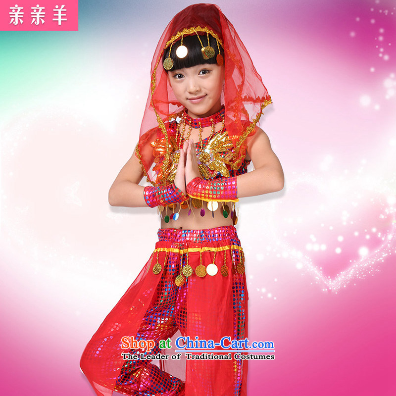 Kiss sheep flagship store new costumes of girl children folk dance show apparel early childhood folk dance show apparel red150cm