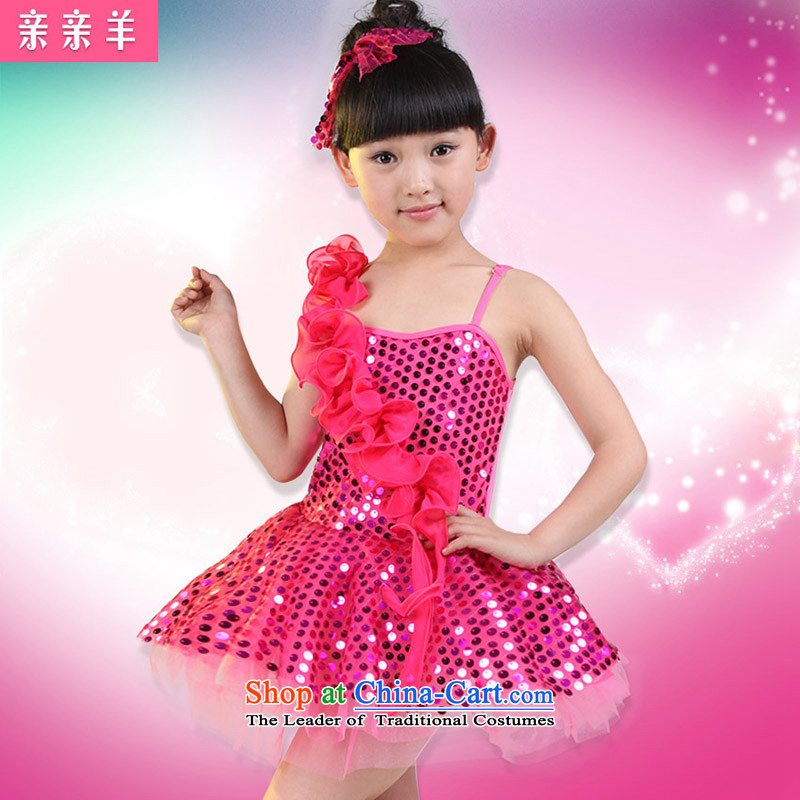 Kiss Kiss flagship sheep sheep costumes dance serving children girls modern dance piece dress on early childhood services Early Childhood Game Show will be red聽130cm