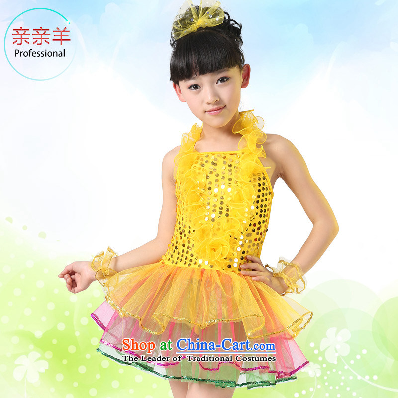 Kiss sheep flagship store new section children costumes girls dance performances on chip dress clothes early childhood costumes Yellow聽130cm