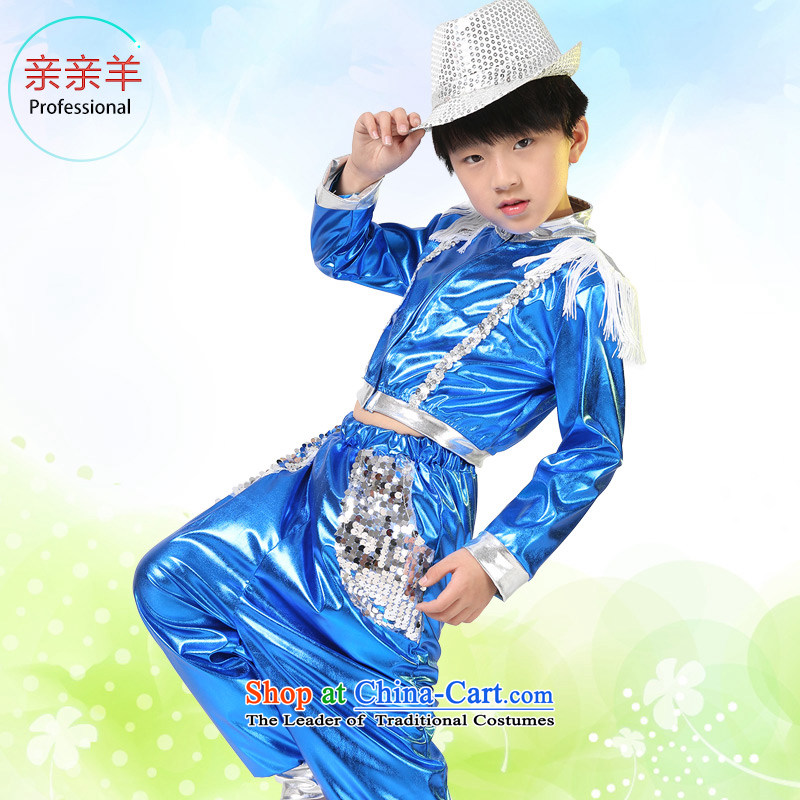 Kiss sheep flagship store 2015 new child jazz dance costumes and female child care dance wearing boy will flow su to boys and girls contest costumes and Blue�150cm