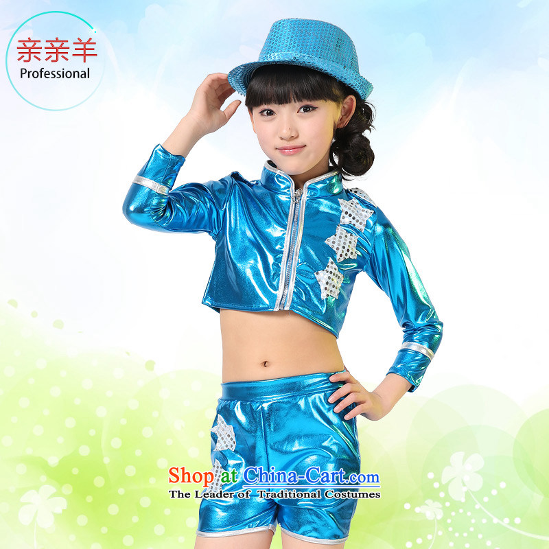 Kiss sheep flagship store children jazz dance costumes Girls Boys jazz dance costumes dance performances of early childhood services package game costumes and blue no Cap聽150cm