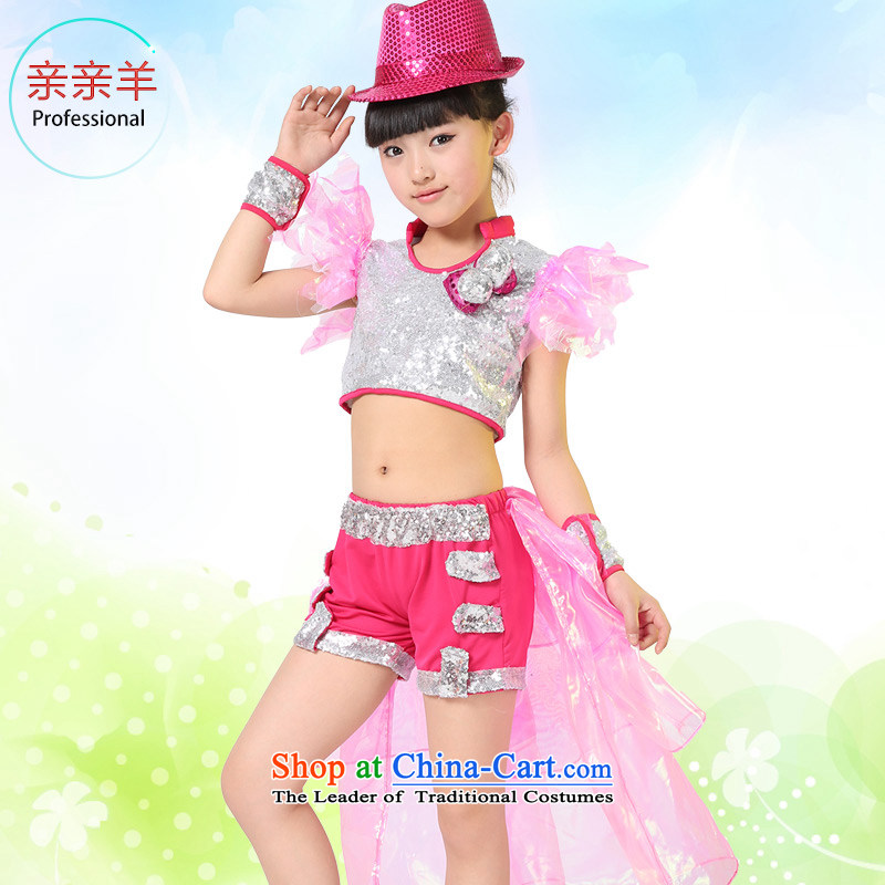 Kiss sheep flagship store children frock coat costumes girls jazz dance performances on early childhood services chip jazz dance performances in children's services Girls contest of costumes red聽150cm