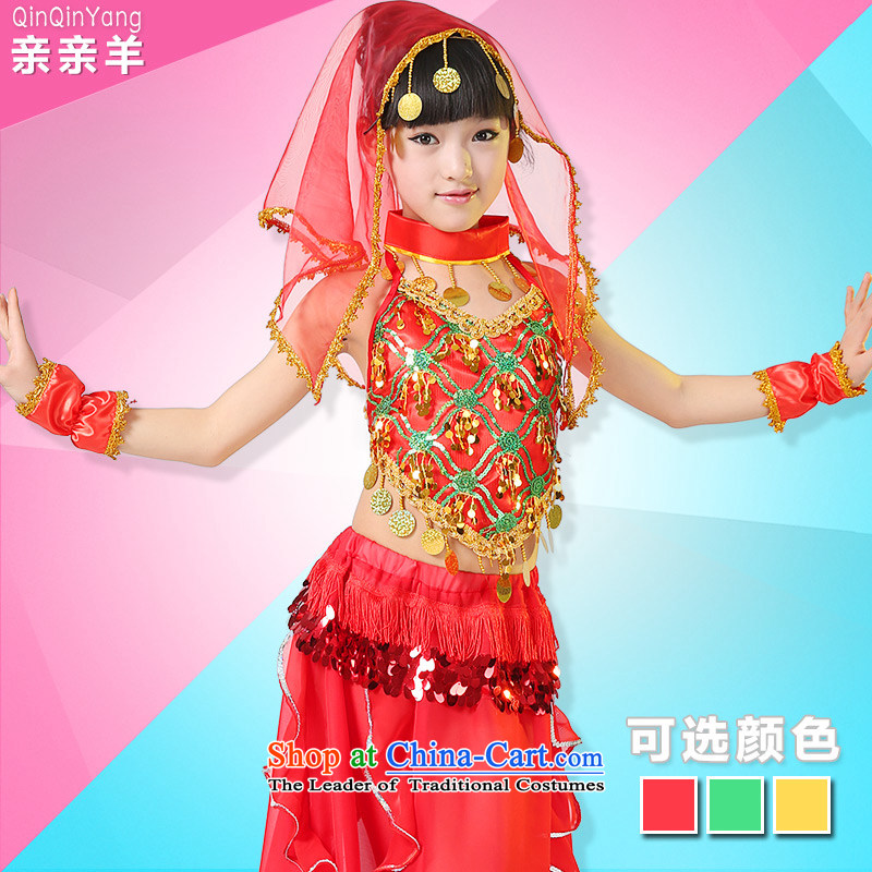 Kiss sheep Children Folk Dance costumes Xinjiang Dance clothing for girls of early childhood services national girls belly dance show Services Red聽5.30