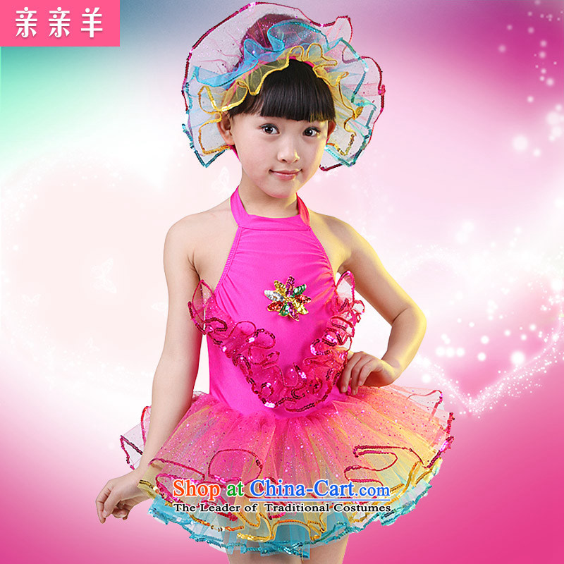 Kiss sheep children costumes dance performances to girls wearing bright chip child care dance performances clothing dress girls costumes of Early Childhood Game Red聽130cm