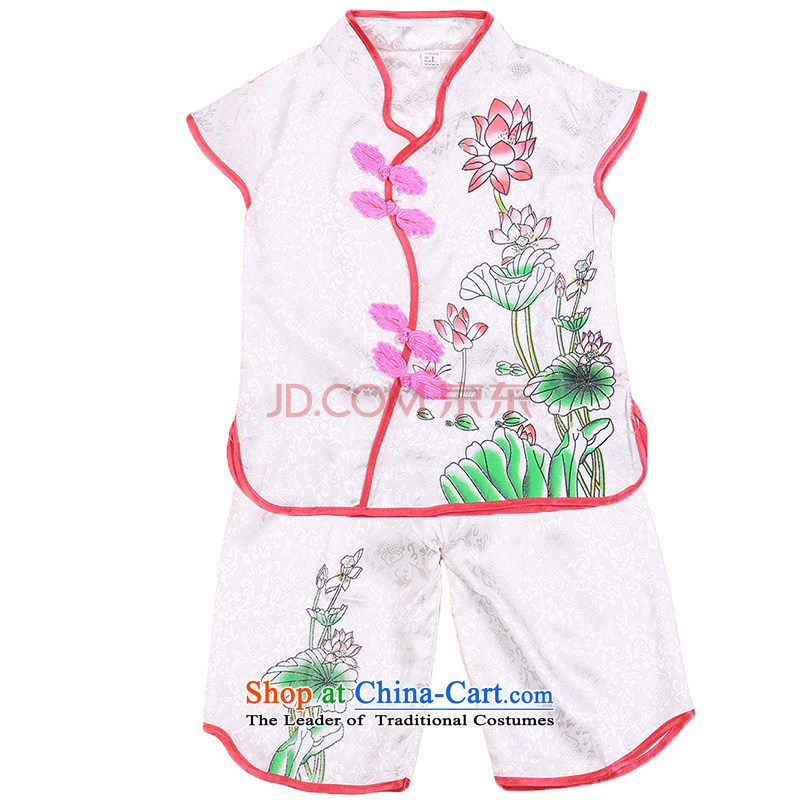 Tang Dynasty children girls vest shorts Summer Package your baby performances services services of ethnic dance white?120cm
