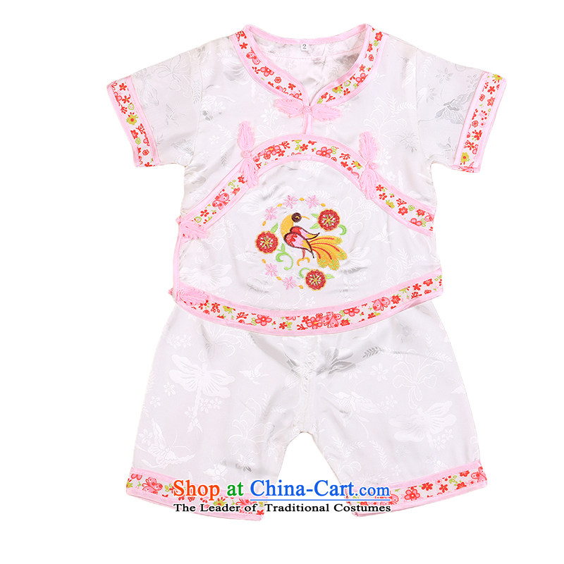 The girl child under age 1 Tang Dynasty 2-year-old cotton summer short-sleeved shorts kit two children under the age of 100 days dress white 100cm