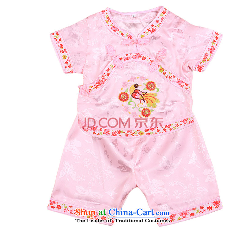 Tang Dynasty children Tang dynasty baby girl cheongsam damask Siu Fung fairy boy shorts, short-sleeved packaged New Concert Services Mr Ronald pink 100cm