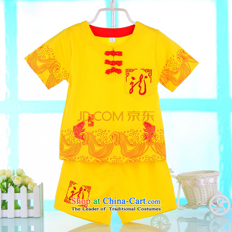 The new age boys gifts Tang dynasty summer baby children of ethnic Chinese clothing birthday dress yellow?80 cm