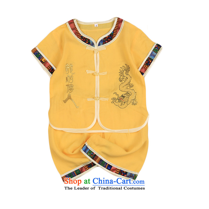 The new Child Tang Dynasty Chinese baby cotton linen Tang dynasty boy short-sleeved Tang casual ethnic summer Yellow 110cm,