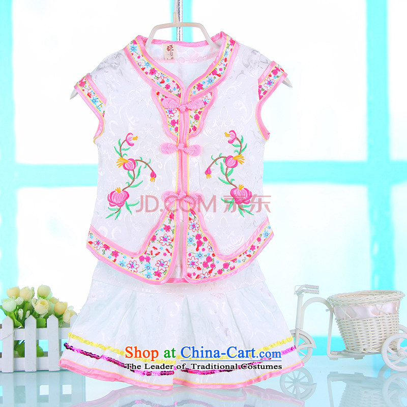 The girl child sleeveless Tang dynasty 2015 Summer new girls Tang dynasty summer satin embroidered Baby Gifts White 100 cm Qingsheng