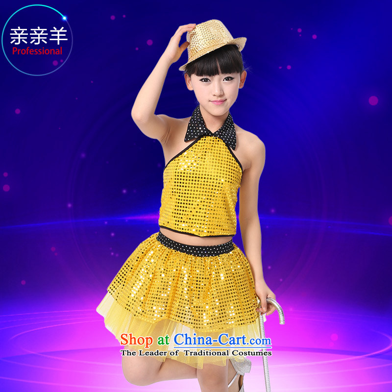 Section 61 children kiss sheep jazz dance costumes on chip modern dance serving girls flashdance costumes and new services Early Childhood Game children dance performances to Yellow聽130cm