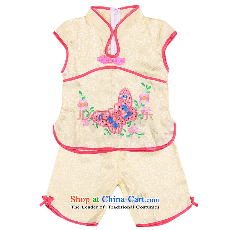 The girl child a new summer products of summer Tang Dynasty Show Services retro Chinese 0-3 years of age service kit baby Yellow 110cm,