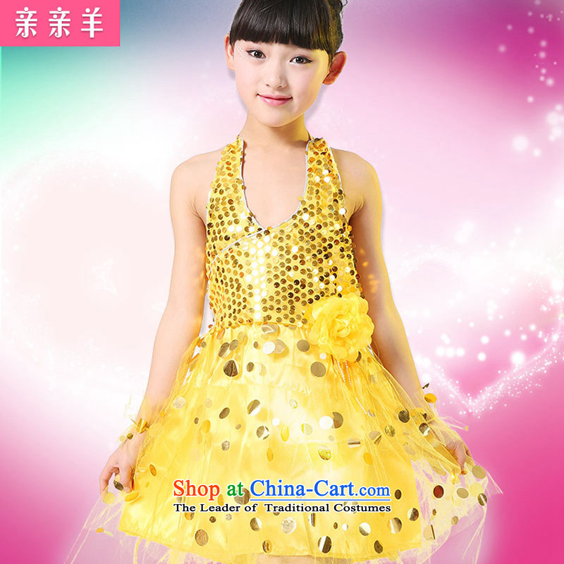 Kiss sheep celebrate Children's Day costumes female Children Dance Dance Dance costumes clothing Early Childhood Game Show girls serving Yellow聽120cm