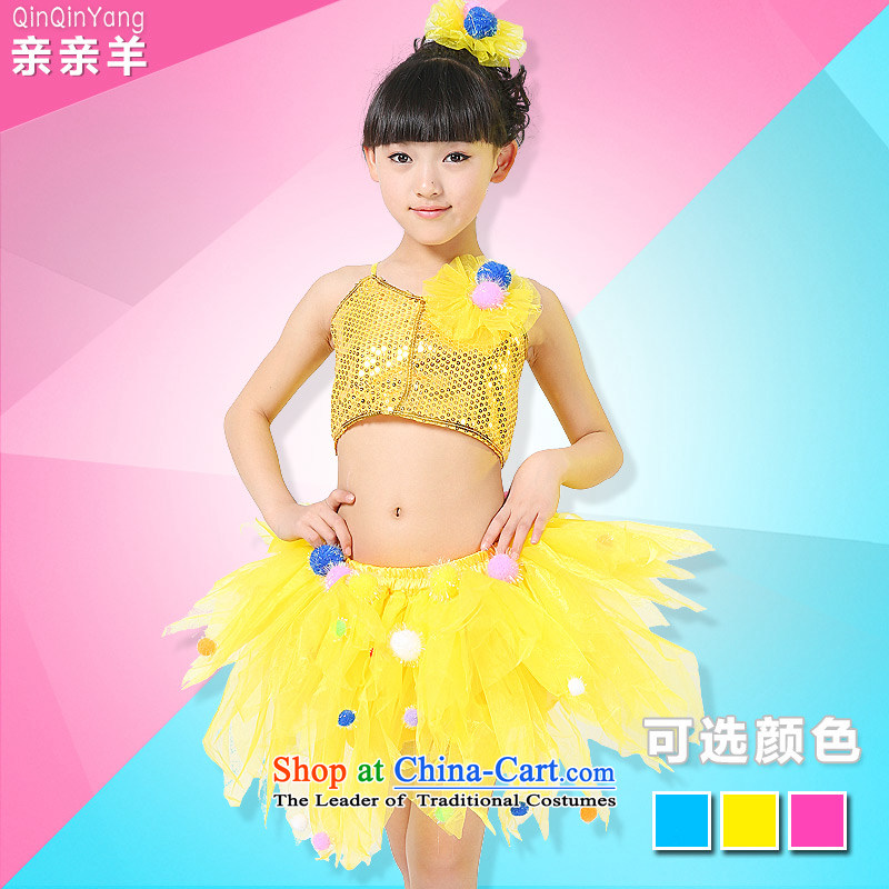 Kiss the sheep new child costumes girls 61 modern dance festival costumes dance performance dress that child care services girls stage competition kit skirt Yellow 110cm,