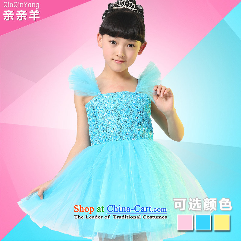 Kiss the sheep new child costumes dance early childhood services girls dance competition will dress presenters princess dresses children fungus Collar, Blue聽130cm