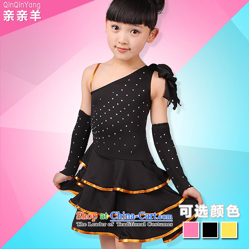 Kiss the sheep new Latin dance skirt 61 children female Latin dance costumes children Latin dance competition costumes and Children Dance services black聽110cm,