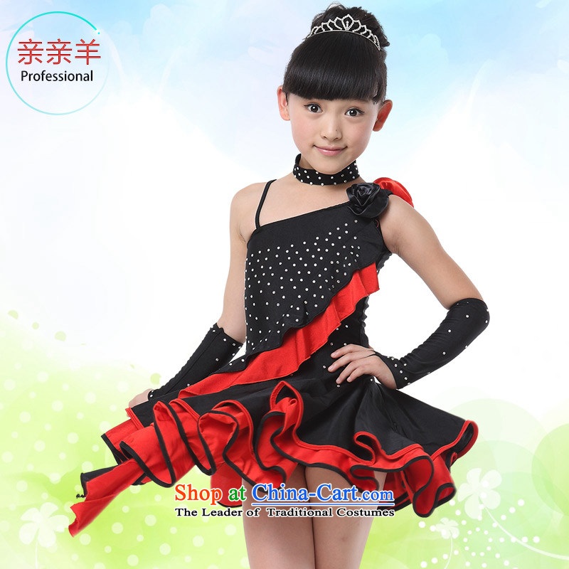 Kiss sheep children Latin dance costumes girls exercise clothing children Latin dance competition on early childhood services show chip Latin clothing black130cm