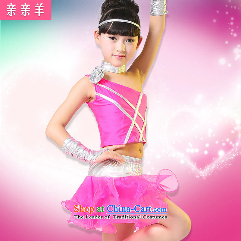 Kiss sheep children Latin dance costumes new girls Latin costumes dance performance on-chip Early Childhood Game Show girls wearing uniforms of the Red聽130cm