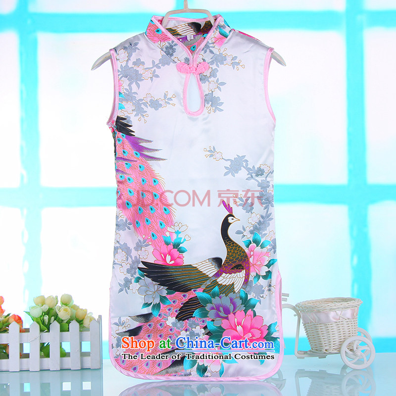 M-ki of Summer Children tulles qipao lovely water droplets on-Chip for Peacock Tang dynasty girls will dress skirt 4691A White120