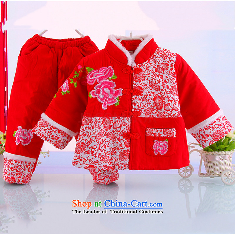 Winter new girls warm pure cotton waffle Tang Dynasty Package girls warm winter thick Tang dynasty 5235 Red 100