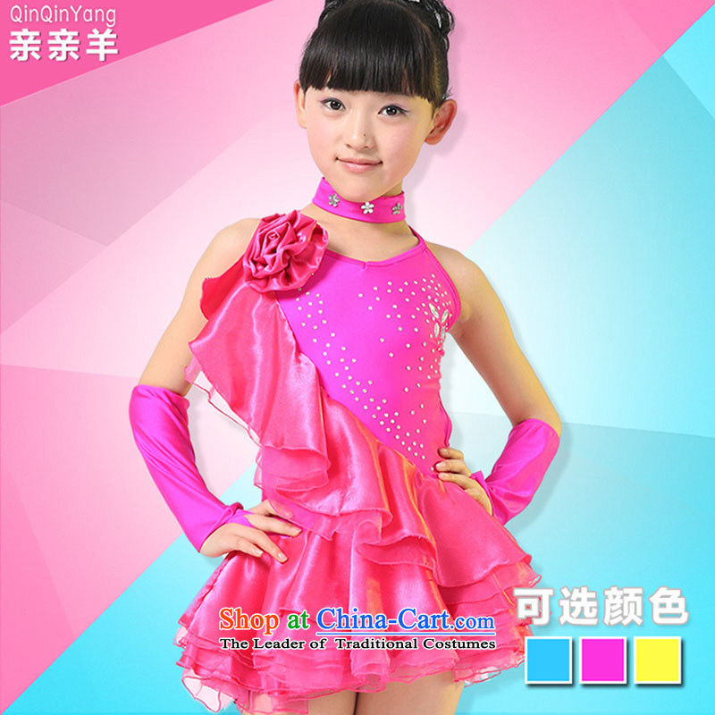 Children Latin dance costumes girls exercise clothing children dance performances to early childhood Latin stage costumes of red game of160cm