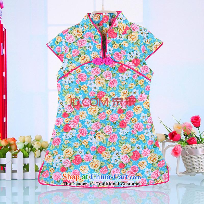 15 children cheongsam dress summer girls Tang dynasty CUHK child guzheng will pure cotton ethnic Chinese 4365 Blue110