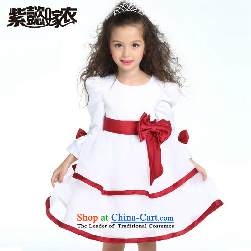 Purple wedding gown headquarters children dress girls will fall of children's wear skirts princess skirt bon bon skirt Flower Girls long-sleeved dresses dress TZ0153 White (single) 14 yards (recommendation 150-160)