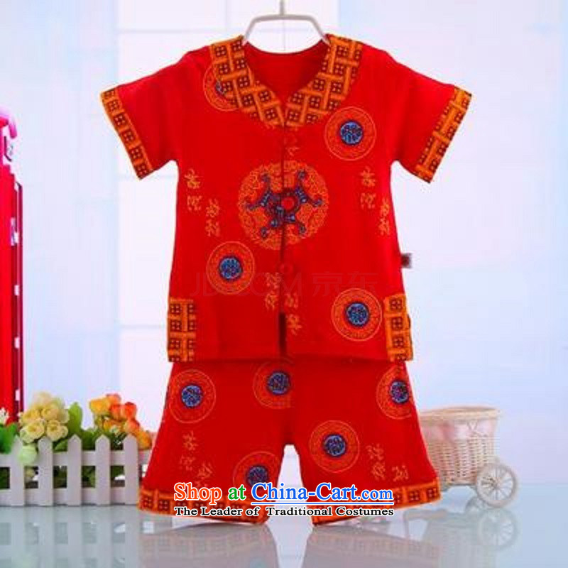 The new baby boy Tang dynasty men and women of spring, summer, autumn and packaged age ceremony for summer clothing national costumes 3285 Red90