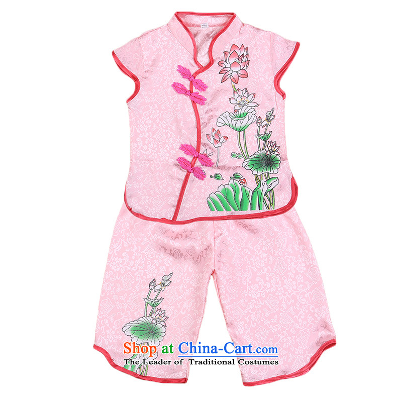A new summer, Tang dynasty girls short-sleeved baby clothes kit from the day of jubilation show dress two kits of 4,656 court. . Pink 100