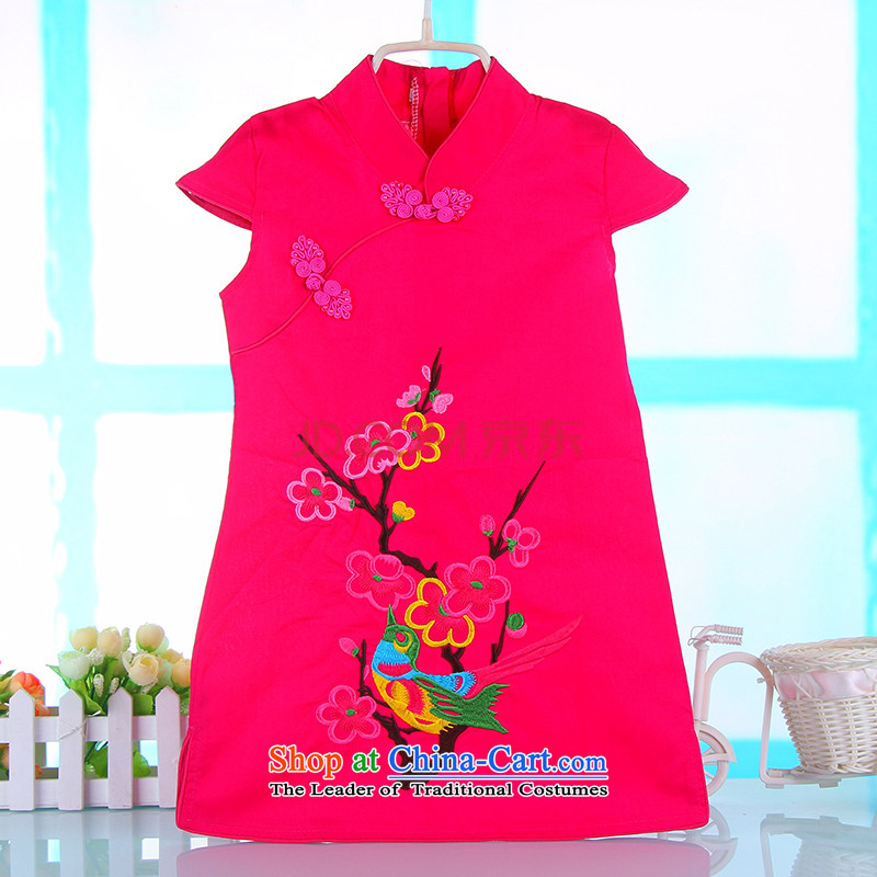 Small and more new child qipao 2015 girls in spring and summer cotton princess skirts little girl Tang Dynasty Chinese dresses rose 100
