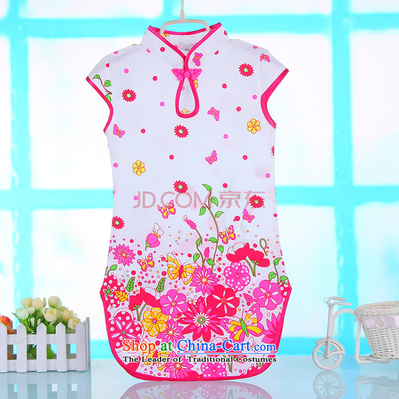 The baby girl children new summer of CUHK porcelain pure cotton qipao Tang dynasty guzheng will dress 4682