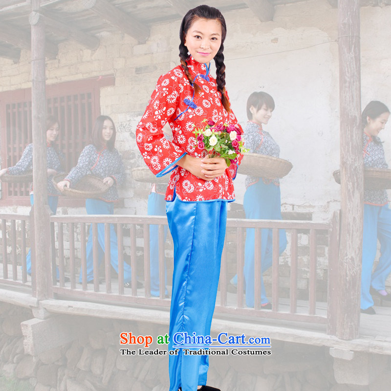 The red light of Lee tiemei children costumes village yet show Apparel clothing Yung Hei Nanniwan baiwan clothing Blue + red180CM