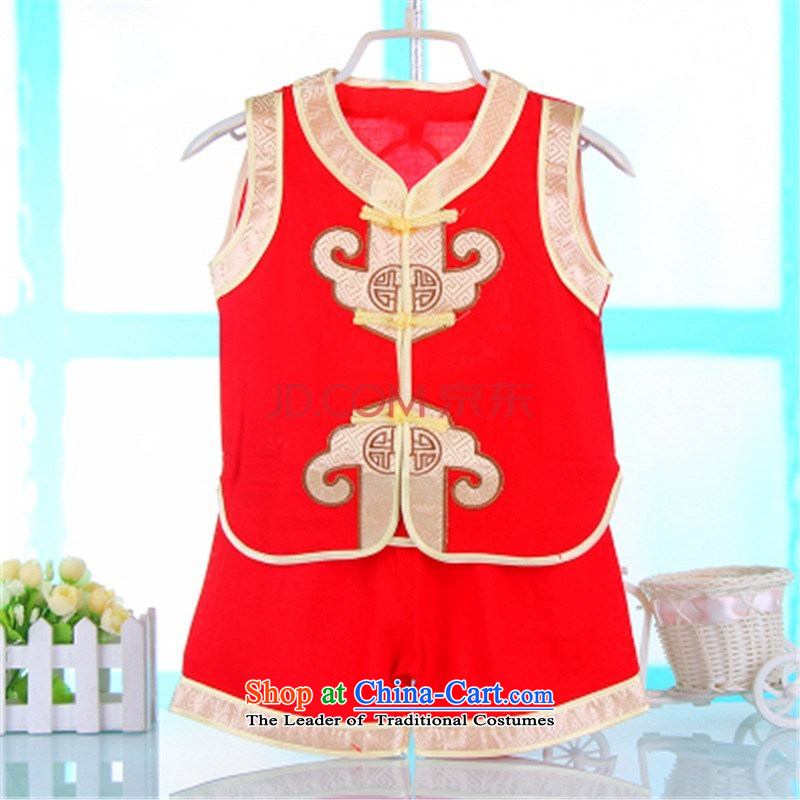 The Tang dynasty children summer short-sleeved baby birthday dress pants Kit Chinese dance folk art martial arts apparel. . Red 90