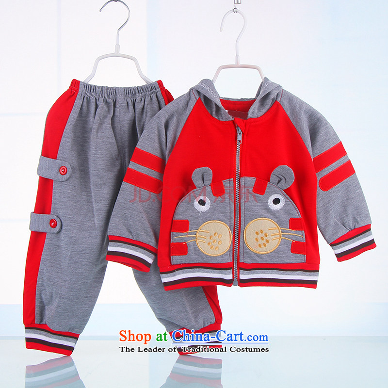 The point and boys autumn long-sleeved kit two sports wear boys out service 1-year-old baby 2 years 3 years old casual clothing Red聽73