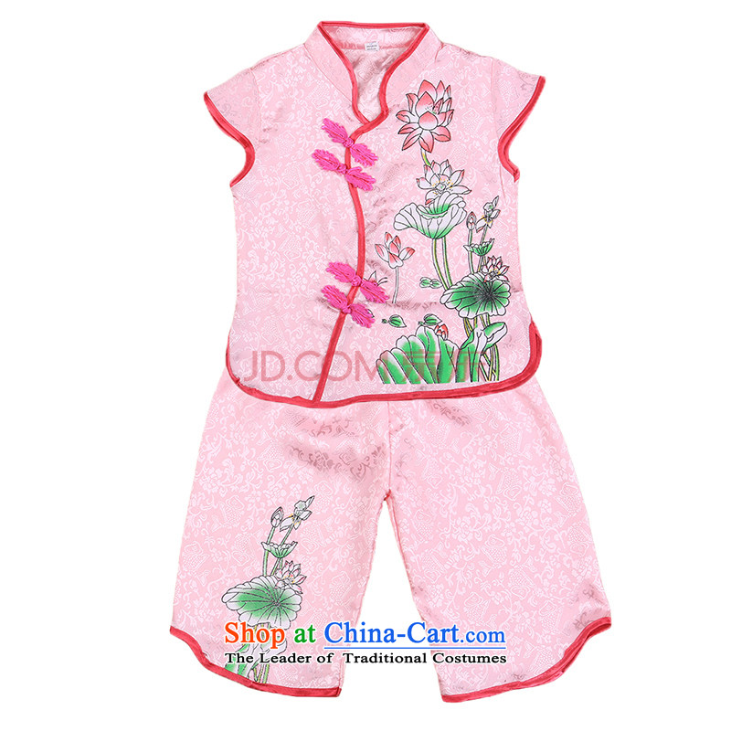 A new summer, Tang dynasty girls short-sleeved baby clothes kit from the day of jubilation show dress two kits of 4,656 court. . Pink 120