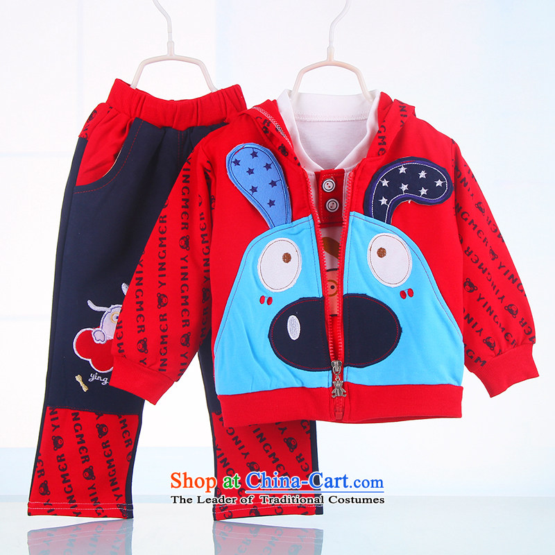 The boy autumn long-sleeved kit two sports wear boys out service 1-year-old baby 2 years 3 years old casual clothing 07319. . Red 51-73 13 80