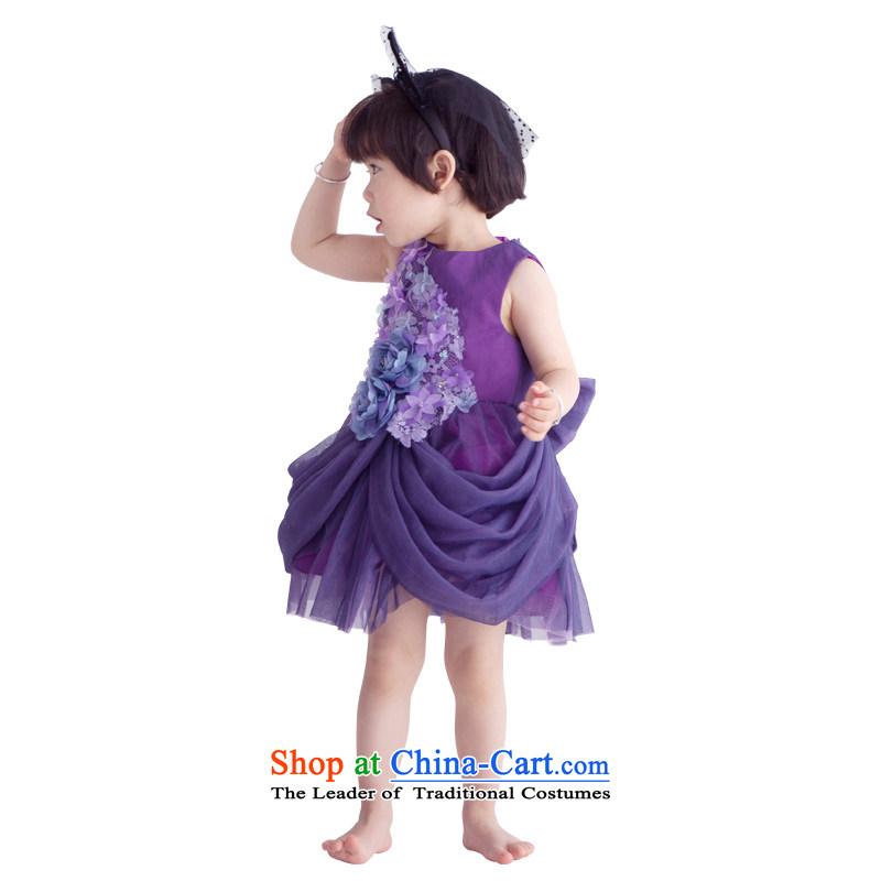 Po Jasmine flower girl children dress dress princess skirt girls wedding clothes bon bon skirt will high-end Custom custom-size--5 purple day shipping