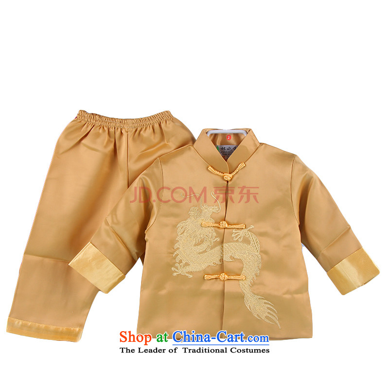 During the spring and autumn embroidery children Tang dynasty boy long-sleeved clothing ethnic baby birthday with Chinese show yellow 100