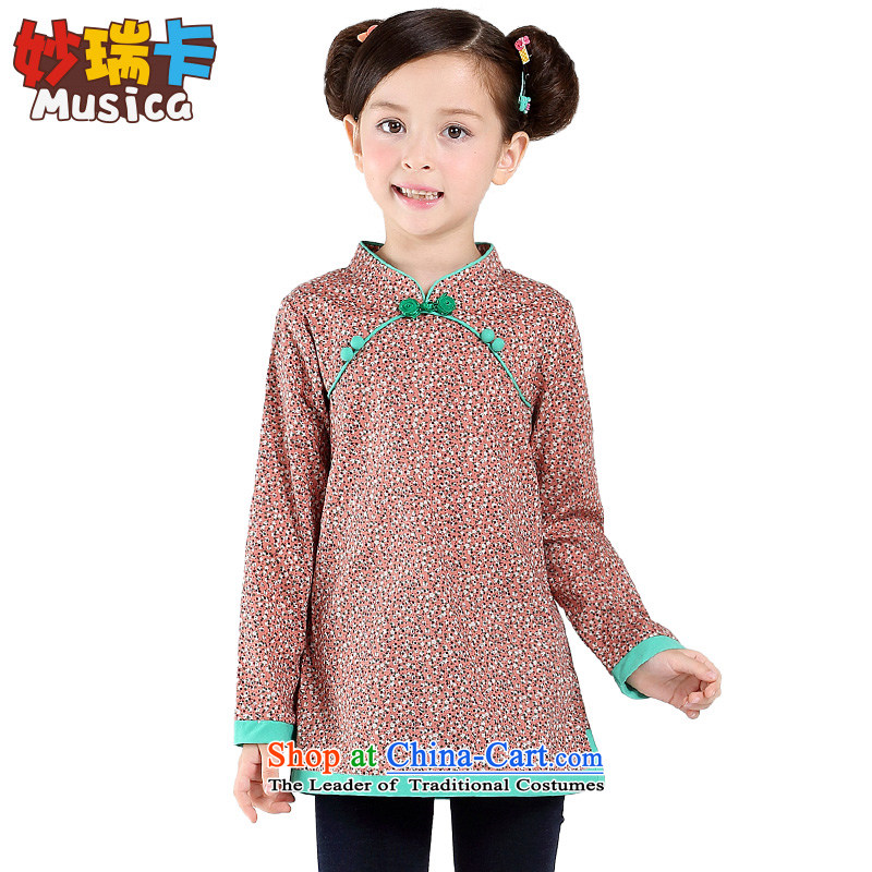 2015 new children's wear long-sleeved qipao girls with children from the spring and autumn saika Tang dynasty girls of ethnic performances of the shredding, serving140
