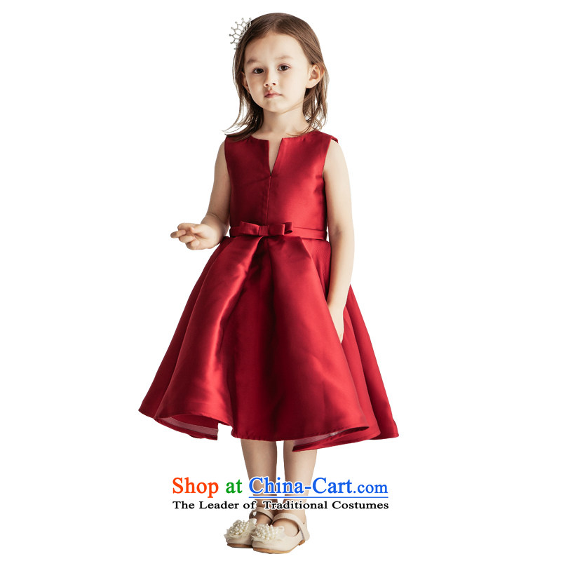 Po Jasmine flower girl children dress dress girls dresses princess skirt children's wear children wedding services custom skirts show girls custom size wine red -5 day shipping