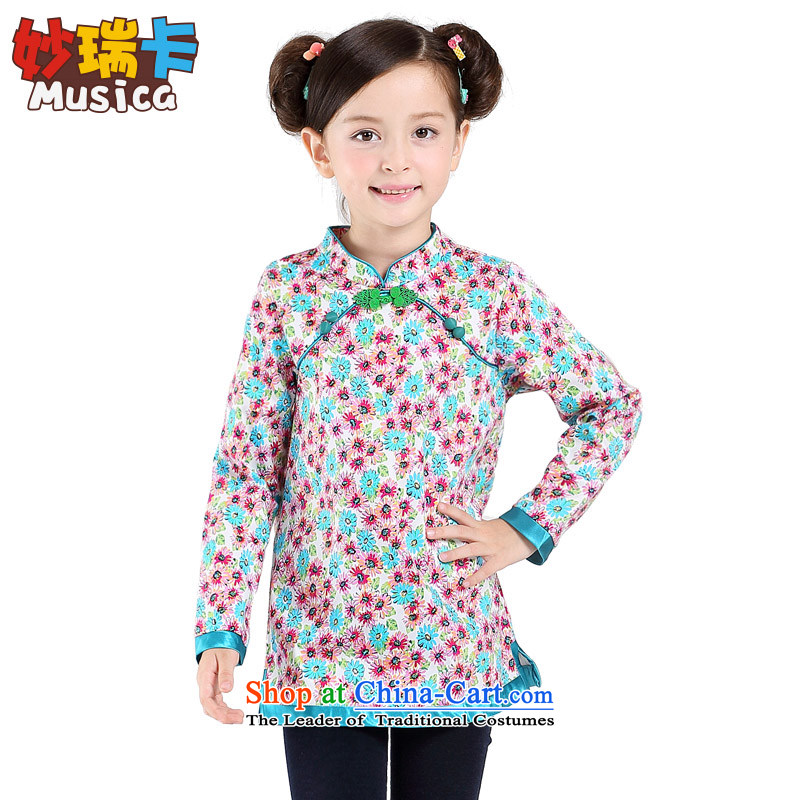 Mya Sui Tang dynasty card girls with improved Han-Fall Classics China wind of child long-sleeved T-shirt and fresh floral qipao daisies 140