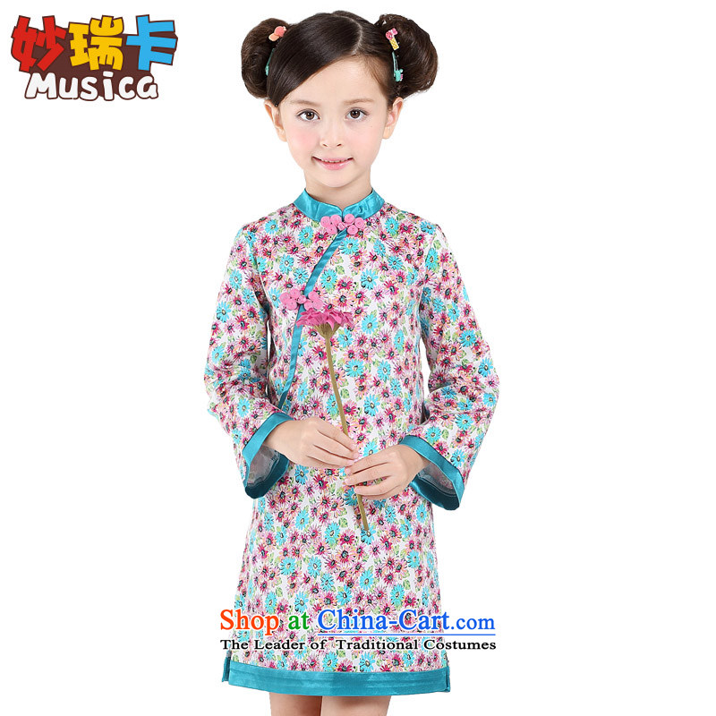 Children qipao girls Tang Dynasty Chinese New Year 2015 Autumn dresses little girl guzheng will long-sleeved fresh daisies 160