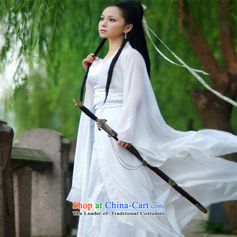 Crown monkey adult Han-load dragons ladies fairies photography services services fairies Han-costume guzheng stage performances chiffon skirt white聽170cm retractable lanyard