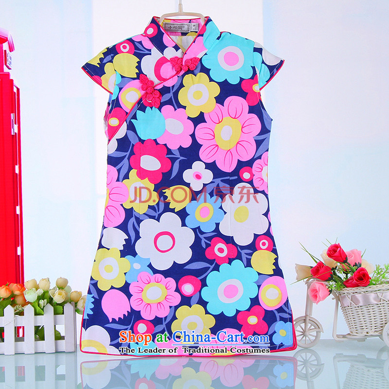 Summer boutique-old baby girl babies cotton blended cloth robes girls aristocratic ocean air Tang dynasty China wind girls 4000 Blue 140